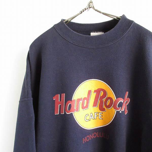 90's/Hard Rock CAFE/スウェット/紺系【XL】ハードロックカフェ/HONOLULU/ドロップショルダー/ビッグシルエット/ビンテージ/D143