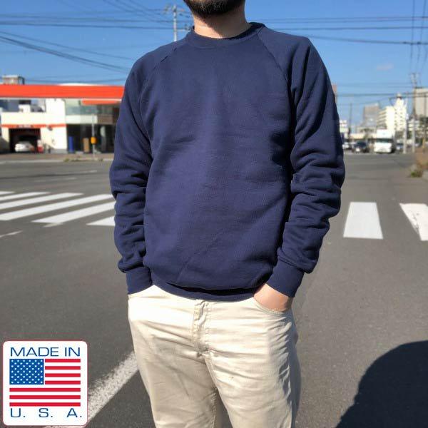 90's/USA製/BVD/無地/スウェット/紺系【L】ラグランスリーブ/トレーナー/コットンポリ/アメリカ製/ビンテージ/D143