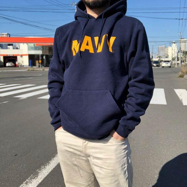 00's/米軍/NAVY/SOFFE/プルオーバー/スウェット パーカー/紺系【L】ソフィー/トレーナー/コットンポリ/ビッグシルエット/D143