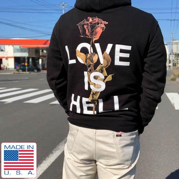 美品/USA製/ボタニカル/LOVE IS HELL/Phora/両面プリント/プルオーバー/スウェット パーカー/黒【M】トレーナー/アメリカ製/D143