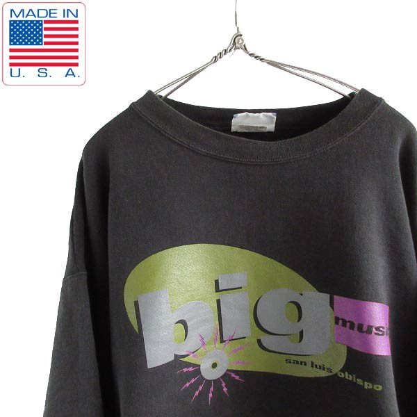 90's/USA製/Lee/レコードショップ/企業物/スウェット/黒【XL】リー/トレーナー/アドバタイジング/アメリカ製/ビンテージ/D143