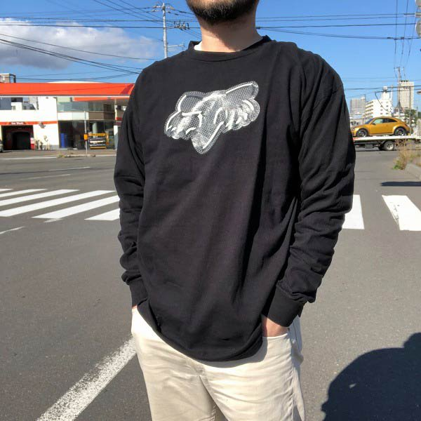 美品/FOX/フォックス レーシング/長袖Tシャツ/黒【XL】コットン/ロンT/長袖シャツ/モトクロス/D143