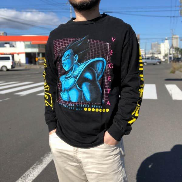希少/アメリカ企画/ドラゴンボールZ/ベジータ/袖ロゴ/長袖Tシャツ/黒【M】ロンT/コットン/D143