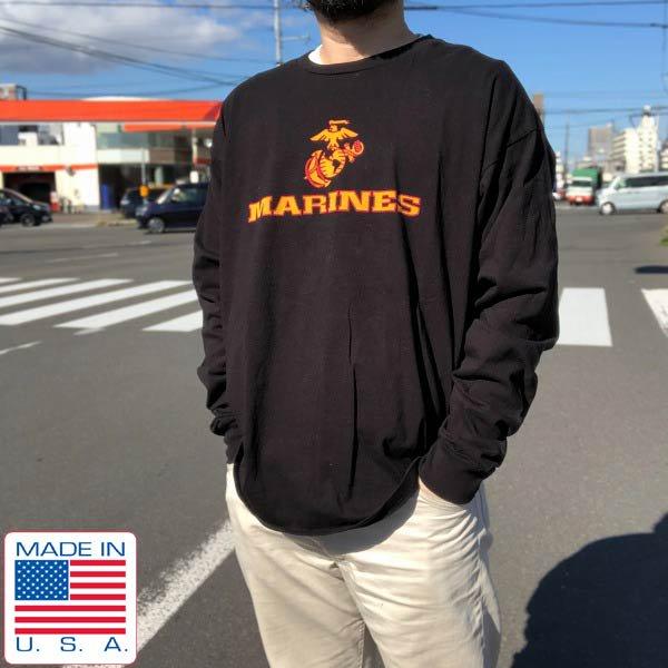 美品/USA製/BAYSIDE/米軍/USMC/海兵隊/長袖Tシャツ/黒【XL】ロゴプリント/ロンT/コットン/アメリカ製/D143