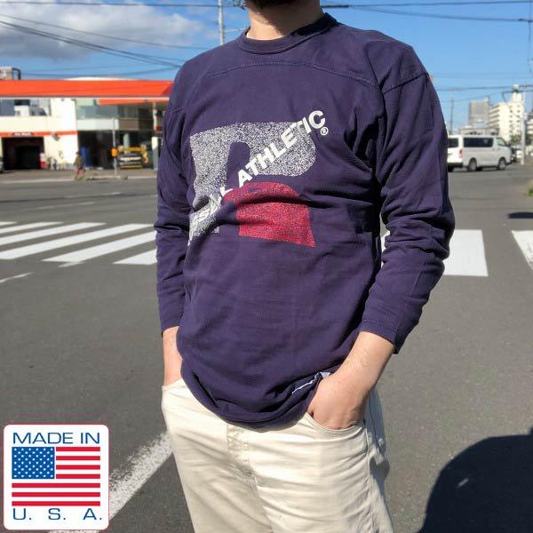 90's/USA製/ラッセル/7分袖/フットボールTシャツ/紺系【L】コットン/アメリカ製/ビンテージ/D143