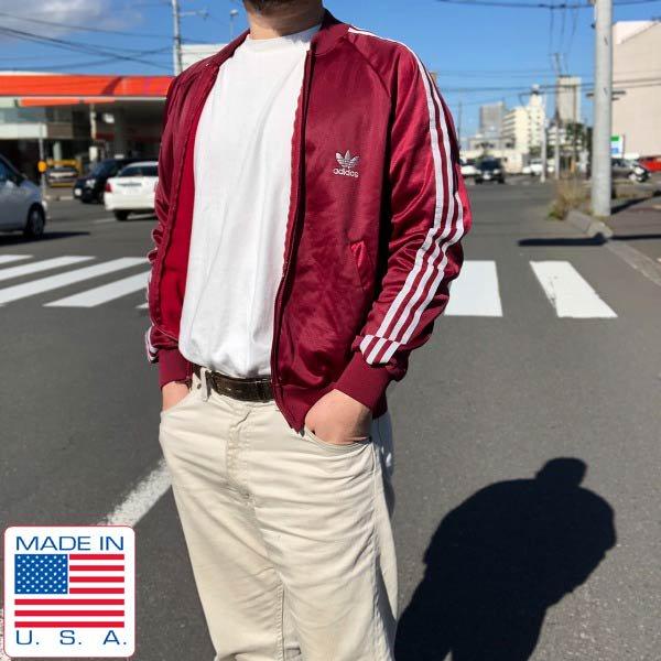 美品/80's/USA製/アディダス/ATPジャージ/エンジ系【S-M程度】adidas/トラックジャケット/サチモス/ヨンス/ビンテージ/D143