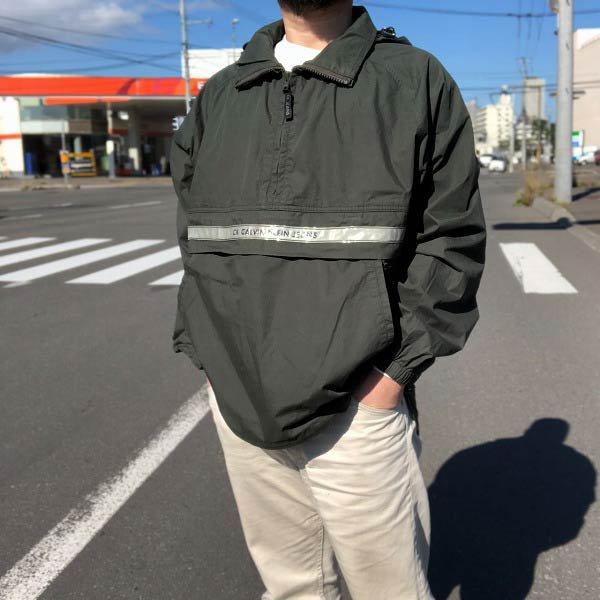 90's/Calvin Klein Jeans/カルバンクライン/アノラックパーカー/緑系【M】プルオーバー/ジャケット/ビンテージ/D143