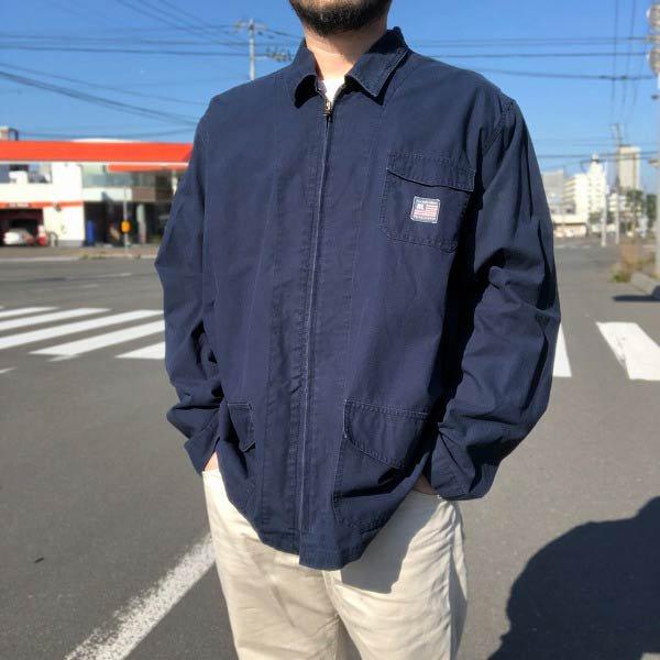 POLO JEANS/ポロジーンズ/コットン/ジャケット/紺系【XL】ラルフローレン/サマーフライトジャケット/カバーオール風/D143