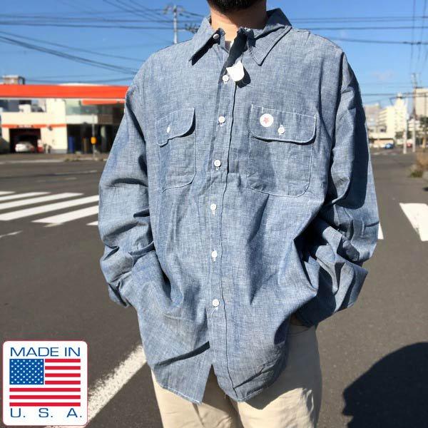 新品/90's/ファイブブラザー/シャンブレーシャツ【3XL】ビッグシルエット/アメリカ製/ビンテージ/デッドストック/D143