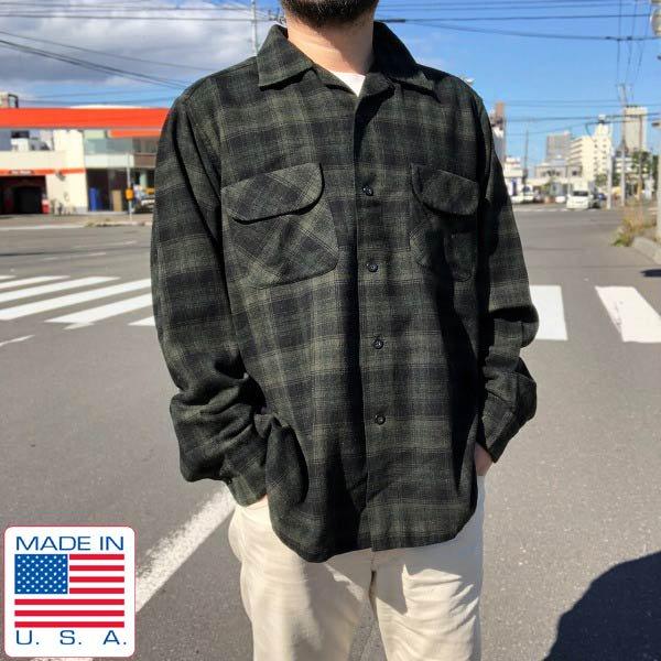好配色/60's/USA製/PENDLETON/ウールシャツ/黒緑系【L】チェックシャツ/ダークカラー/ペンドルトン/アメリカ製/ビンテージ/D143