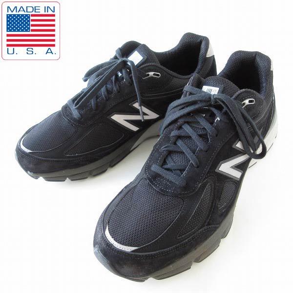 USA製/ニューバランス/M990 BK4/黒【US13-2E/幅広31cm】990v4/大きいサイズ/スニーカー/アメリカ製/メンズ/靴/D143