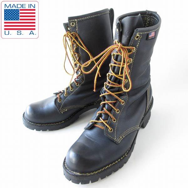 USA製/Danner/ダナー/NFPA/ファイヤーマン ブーツ/黒【10.5D/28.5cm】ロガーブーツ/編み上げ/大きいサイズ/靴/D143