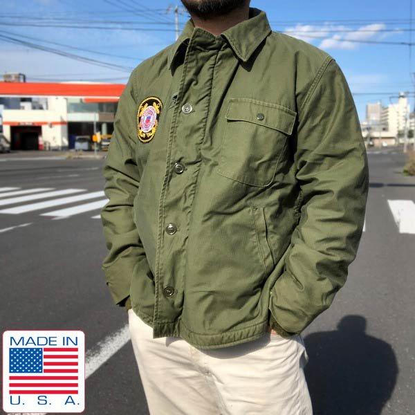 70's/実物/米軍/USCG仕様/A-2/内ボア/デッキジャケット/緑系【L】ステンシル/US NAVY/N-1後継/USA製/ミリタリージャケット/D143