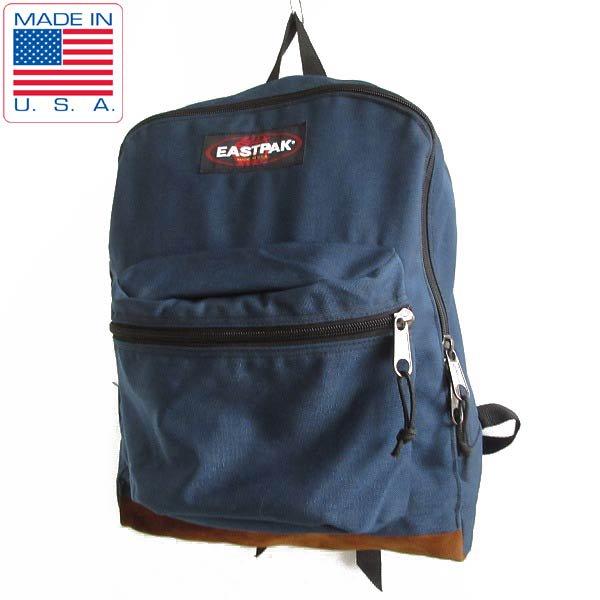 90's/USA製/EASTPAK/ボトムレザー/リュックサック/紺系/デイパック/イーストパック/バッグ/アメリカ製/ビンテージ/D143