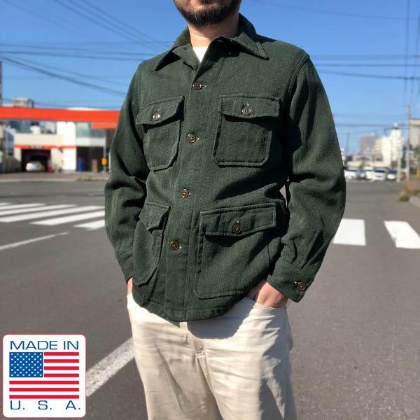 50's/USA製/BLACK BEAR KODIAKS/ウール/ウィップコード/ワーク/ジャケット/緑系【メンズS程度】アメリカ製/ビンテージ/D143