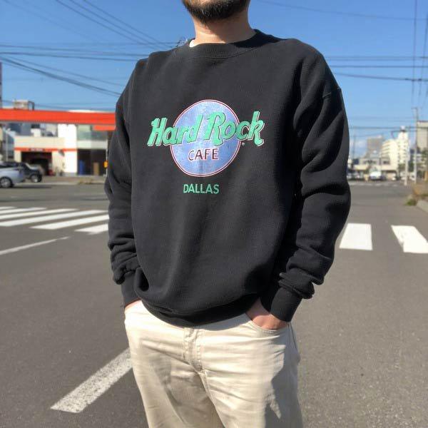 80's-90's/Hard Rock CAFE/DALLAS/スウェット シャツ/黒【XL】トレーナー/ハードロックカフェ/ビンテージ/D143