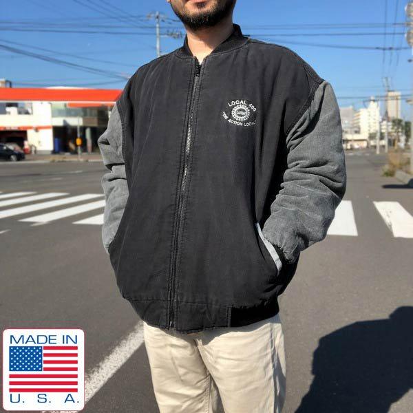 USA製/Union Line/UAW/企業物/コットン キャンバス/スタジャン/黒ベース【XL】アドバタイジング/アメリカ製/ビンテージ/D143