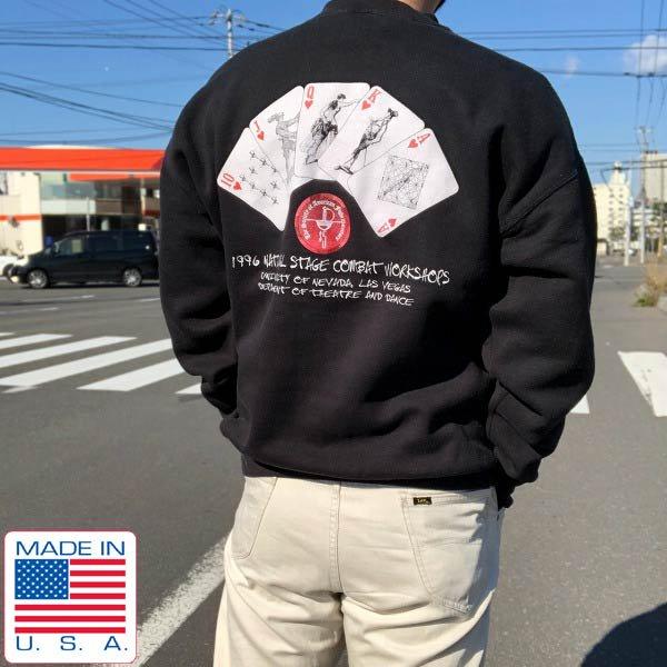希少/90's/USA製/トランプ柄/殺陣ワークショップ/スウェット/黒【XL】フルーツオブザルーム/レア/アメリカ製/ビンテージ/D143