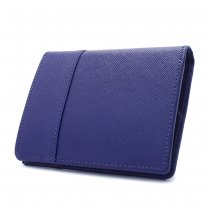 型押しレザー 二つ折り財布 ブルー