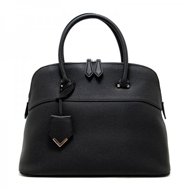 EMMA BLACK シュリンクレザーハンドバッグ