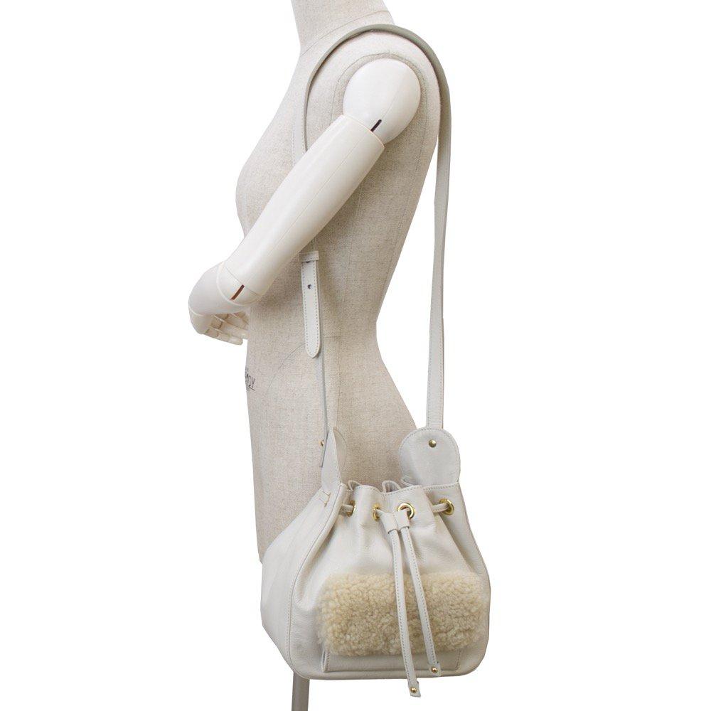 ムートンコンビ 巾着ショルダーバッグ アイボリー 日本製