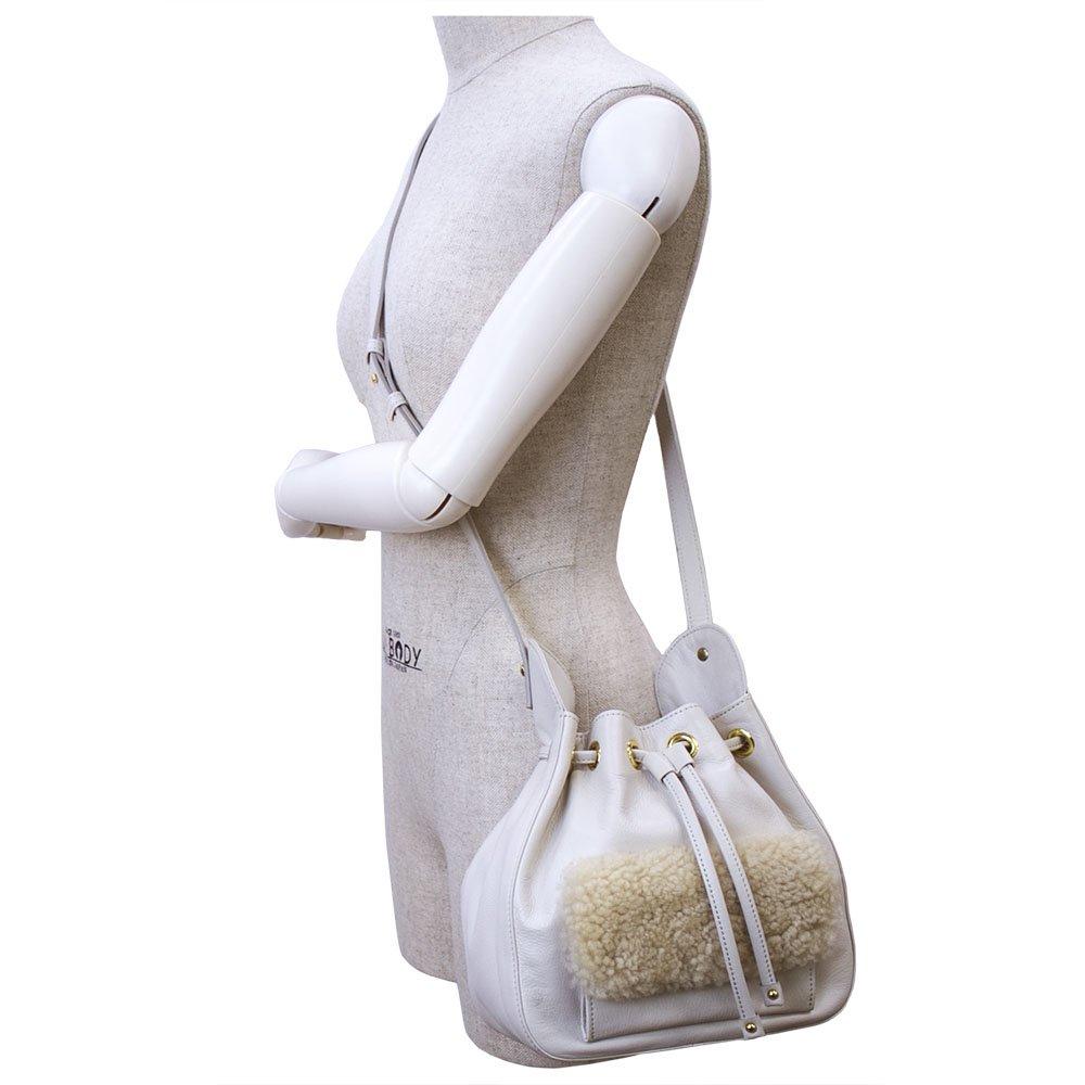 RE-07 [IVORY] アイルランド産ムートン 本革巾着ショルダーバッグ 日本製