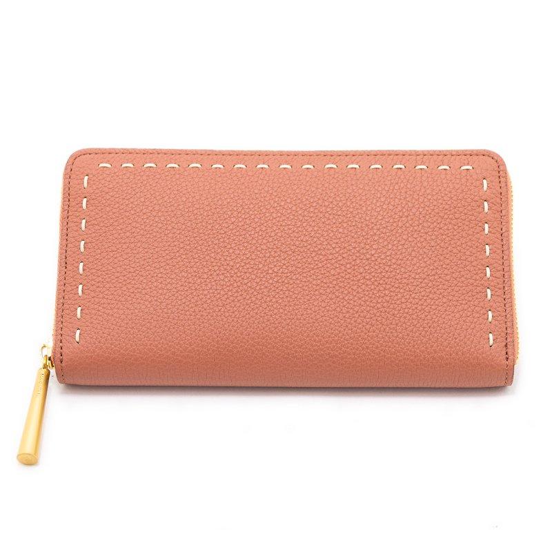 日本製 SAHO [TERRACOTTA限定色] シュリンクレザー ラウンドファスナー 長財布
