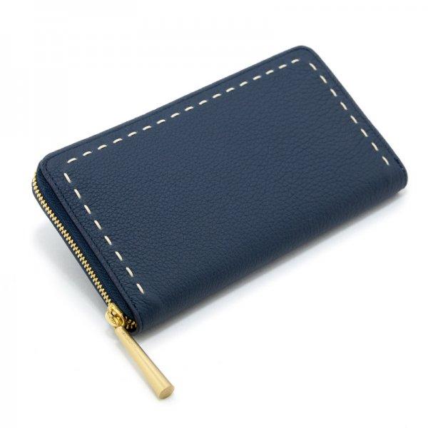 SAHO [NAVY限定色] シュリンクレザー・エスポワール 本革ラウンドファスナー長財布 日本製