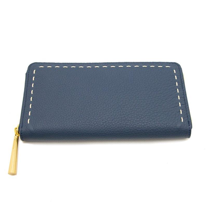 日本製 SAHO [NAVY] シュリンクレザー ラウンドファスナー 長財布
