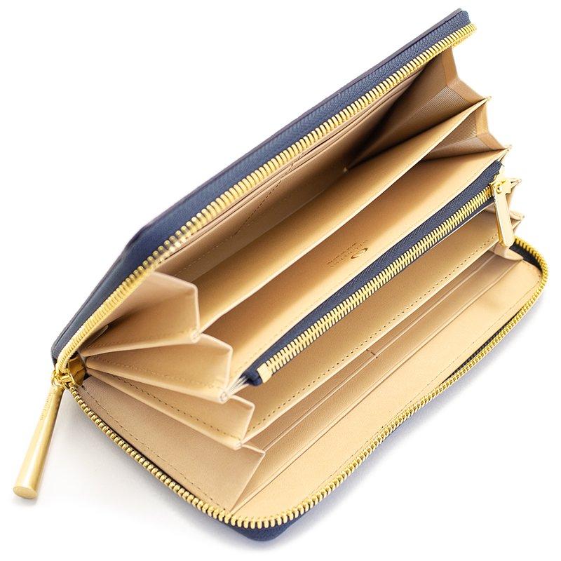 SAHO [NAVY] シュリンクレザー・エスポワール 本革ラウンドファスナー長財布 日本製