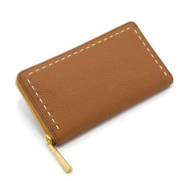 SAHO [CAMEL 限定色] シュリンクレザー・エスポワール 本革ラウンドファスナー長財布 日本製