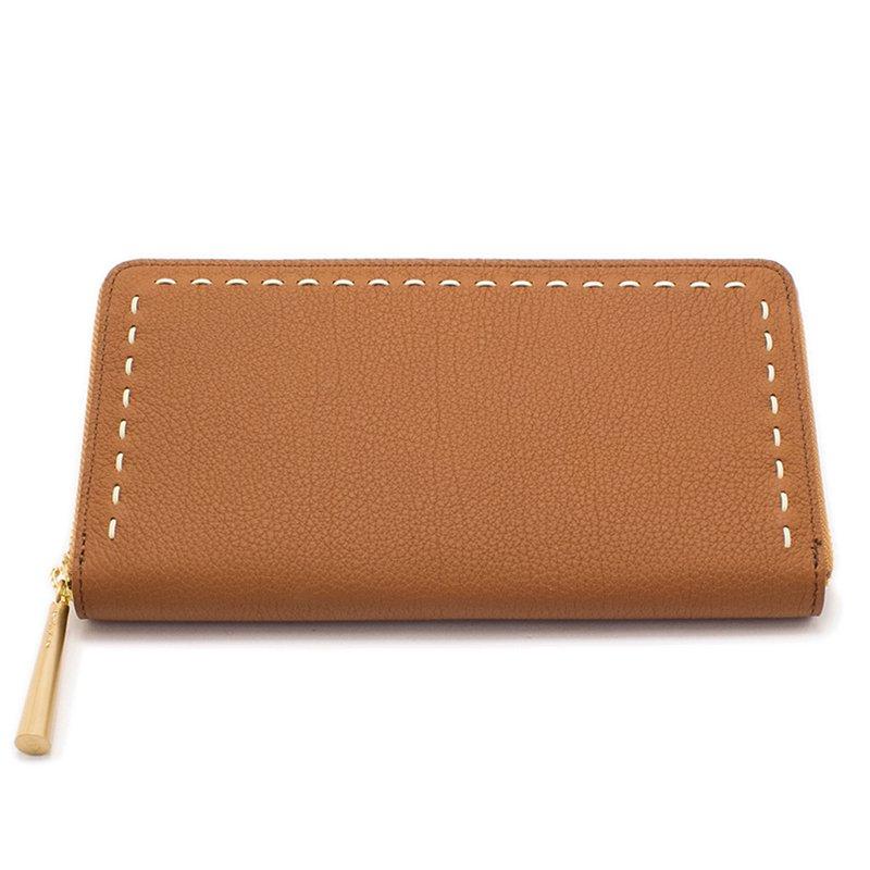 日本製 SAHO [CAMEL/SELL限定色] シュリンクレザー ラウンドファスナー 長財布