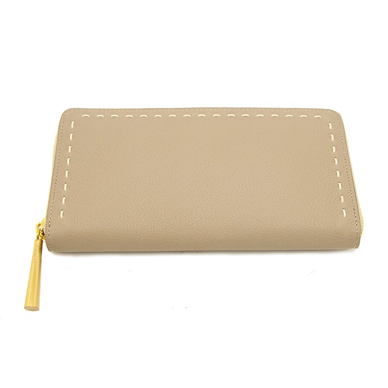 日本製 SAHO [BEIGE] シュリンクレザー ラウンドファスナー 長財布