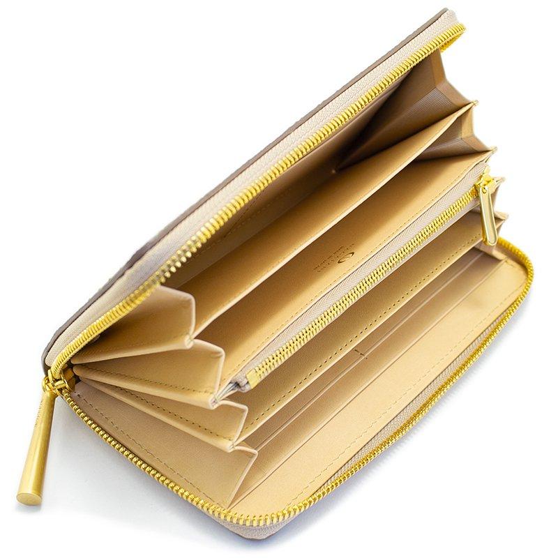 SAHO [BEIGE] シュリンクレザー・エスポワール 本革ラウンドファスナー長財布 日本製