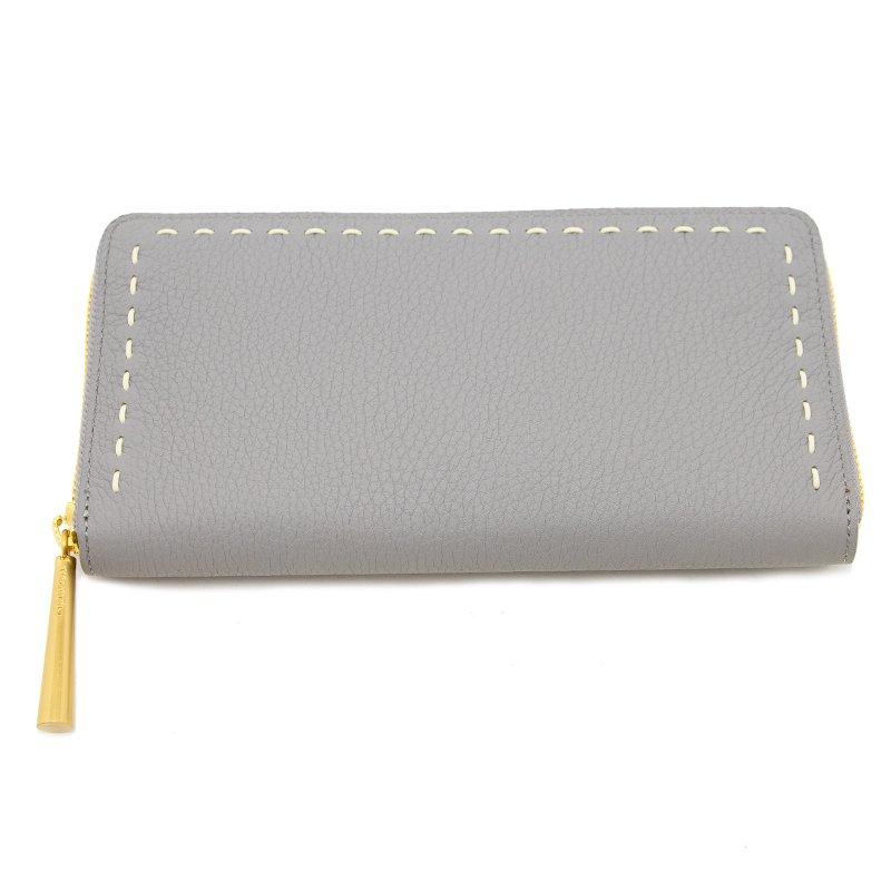日本製 SAHO [LIGHT-GRAY限定色] シュリンクレザー ラウンドファスナー 長財布