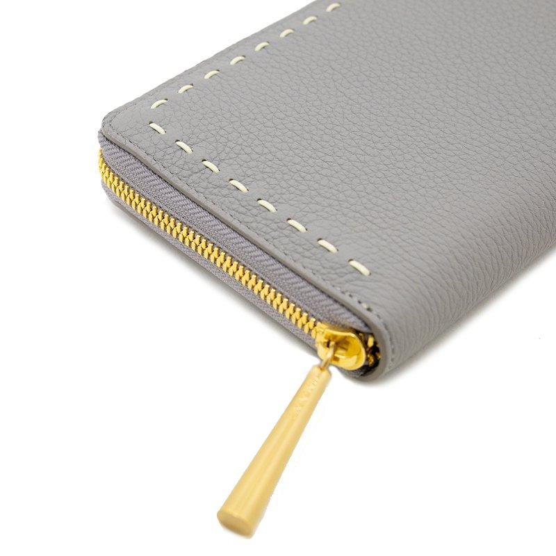 SAHO [LIGHT-GRAY 限定色] シュリンクレザー・エスポワール 本革ラウンドファスナー長財布 日本製