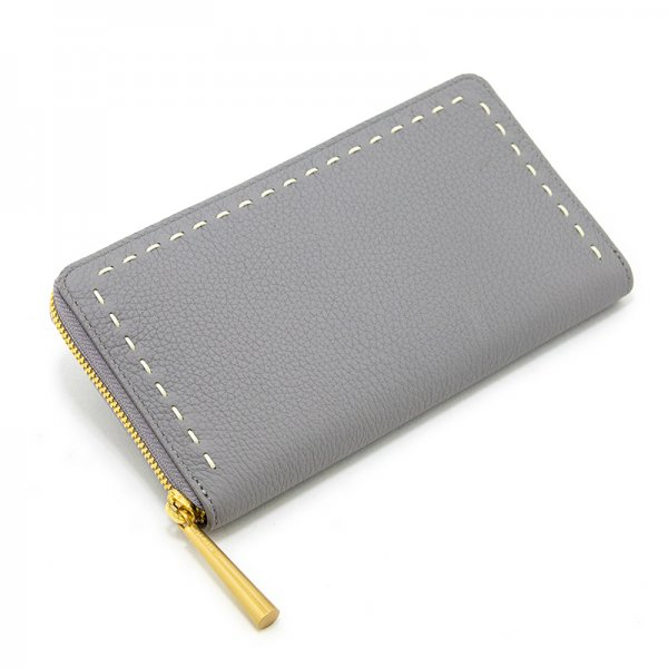 SAHO LIGHT-GRAY 限定色 シュリンクレザー長財布