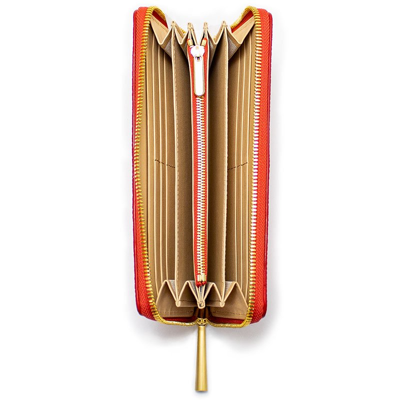 SAHO [RED] シュリンクレザー・エスポワール 本革ラウンドファスナー長財布 日本製