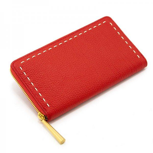 SAHO [RED] シュリンクレザー 長財布