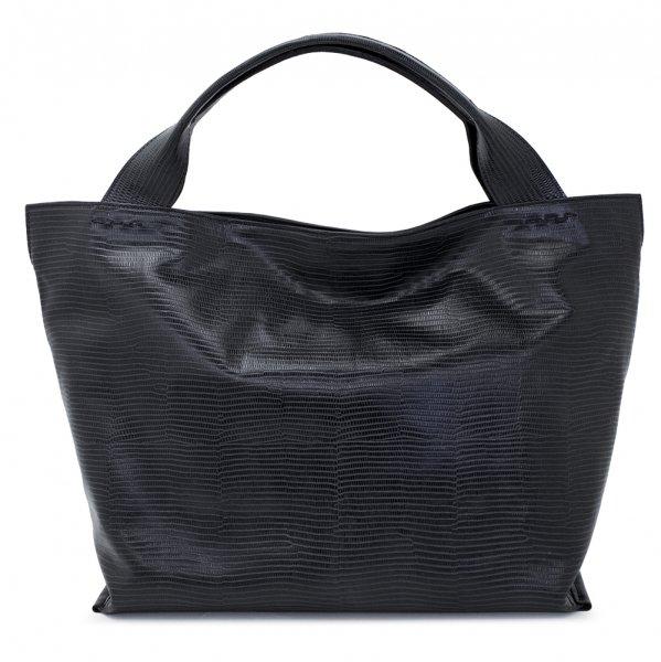 日本製 RAVIOLI [BLACK] リザード型押しレザー・本革トートバッグ