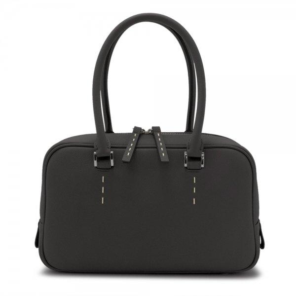日本製 STEPHANIE [BLACK] シュリンクレザー 本革ハンドバッグ
