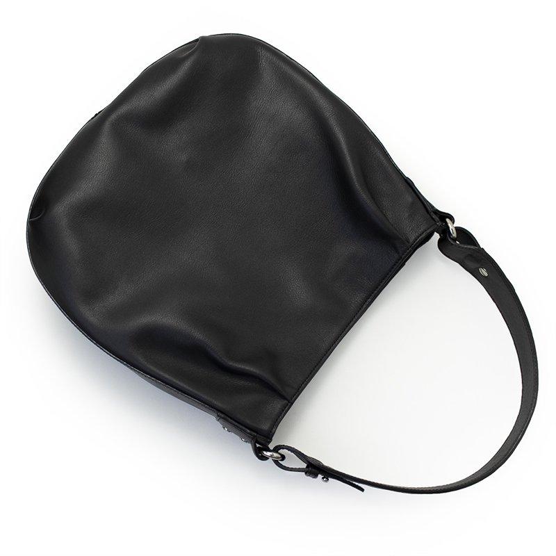 スムースレザー ワンショルダーラウンドバッグ  [BLACK]  日本製