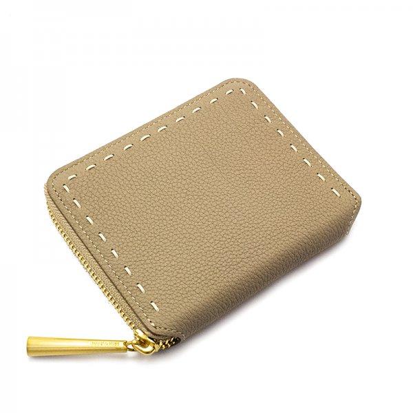 日本製 BONNIE [BEIGE] シュリンクレザー ラウンドファスナー 二つ折り財布