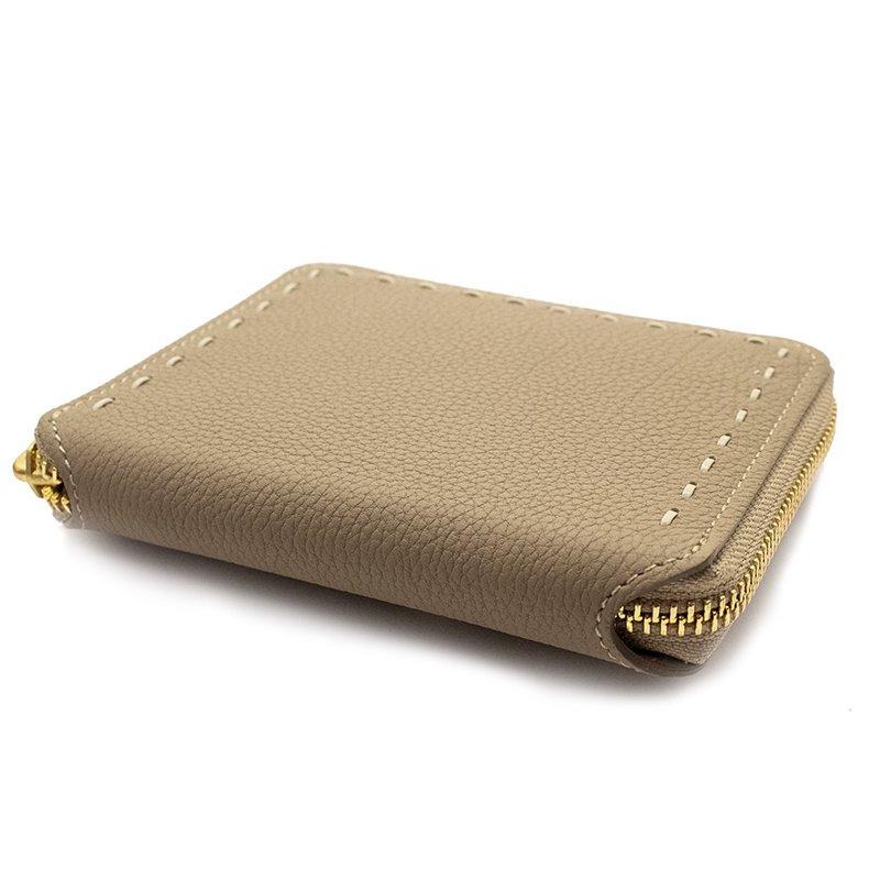 BONNY [BEIGE] シュリンクレザー・エスポワール 本革ラウンドファスナー二つ折財布 日本製