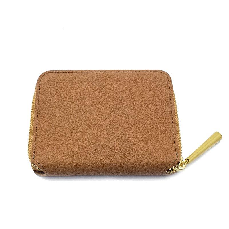 BONNY [CAMEL] シュリンクレザー・エスポワール 本革ラウンドファスナー二つ折財布 日本製