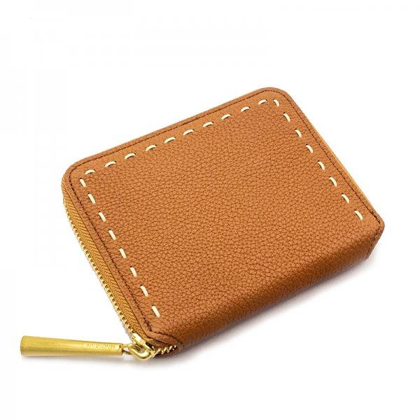 BONNY[CAMEL]シュリンクレザー二つ折り財布