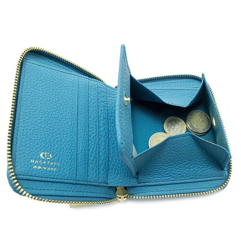 BONNY [CYAN] シュリンクレザー・エスポワール 本革ラウンドファスナー二つ折財布 日本製