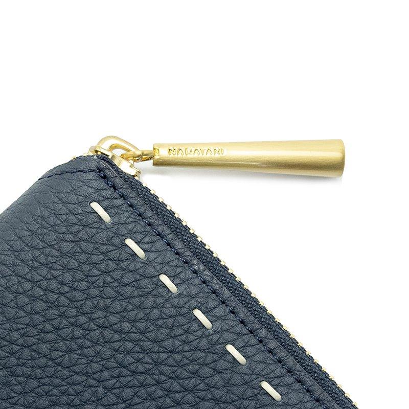 BONNY [NAVY] シュリンクレザー・エスポワール 本革ラウンドファスナー二つ折財布 日本製