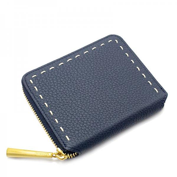BONNY[NAVY限定色]シュリンクレザー二つ折り財布