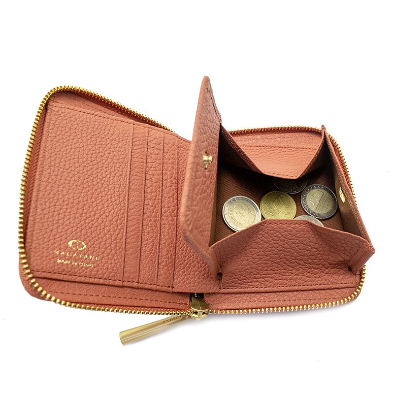 BONNY [TERRACOTTA] シュリンクレザー・エスポワール 本革ラウンドファスナー二つ折財布 日本製
